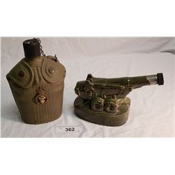 Jim Beam Military Canteen Decanter & Military Cannon Decanter