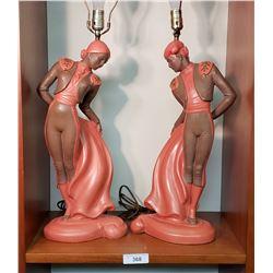 Pair of C. Romanelli Male & Female Matador Lamps