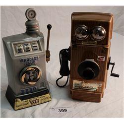 Jim Beam Harold's Club Decanter & Jim Beam Wall Phone Decanter