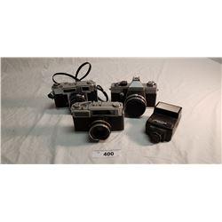 3 Vintage 35mm Cameras & Flash