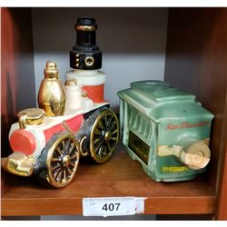 Ezra Brother Early Fire Engine Decanter & Jim Beam Trolly Car Decanter