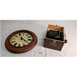 Wood Clock Face, Dial & Hands Only & Fodor Model A-100 35mm Slide Projector in Box