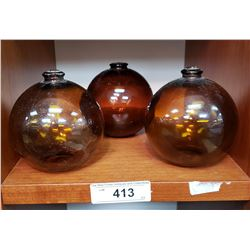 3 Antique Amber Glass Fish Floats