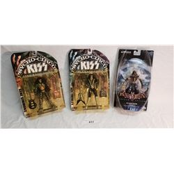 2 Kiss & 1 Batman Toy Figures in Original Packaging