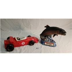 Potters Trout Decanter & Mario Andretti Race Car Decanter