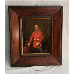 Early Framed Painting of a Military Man in Red Surge