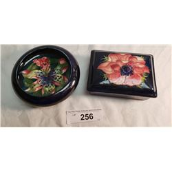 1 Moorcroft Lidded Box w/Paper Label Potter to the Queen and 1 Moorcroft Bowl Colored in Rim Chip