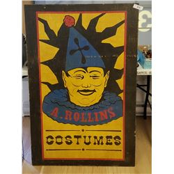 A. Rollins Costumes Wood Sign