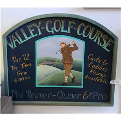 Valley Golf Course Wooden Sign