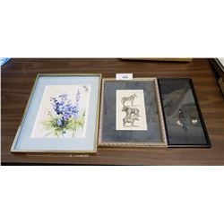 3 Framed Pictures: 1 Watercolour, 1 Etching & 1 Asian Watercolour