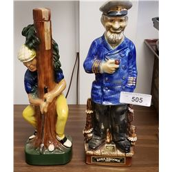 Golfer Decanter & Ezra Brooks Sea Captain Decanter