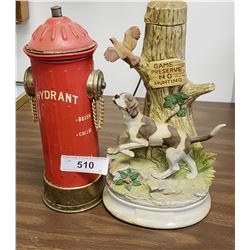 Fire Hydrant Decanter & Hunting Dog Decanter