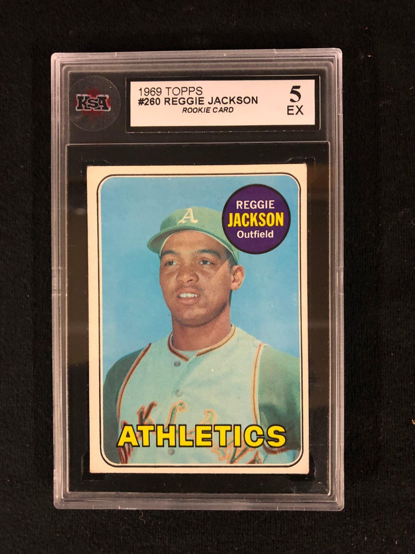 1969 Topps 260 Reggie Jackson Rookie Card 5 Ex Ksa Graded