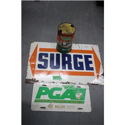 Surge Metal Sign; UFA License Plate & UFA Oil Can