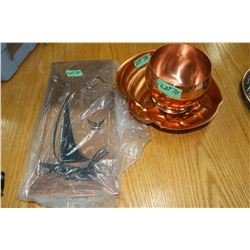 Two Copper Nut/Candy Dishes & a Copper Wall Plaque