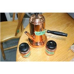 French Copper Coffee Server & Salt/Pepper Shakers