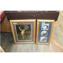 Oak Framed Prints (1) 3 Big Horn Sheep (2) White Tail Deer ** Glass is broken