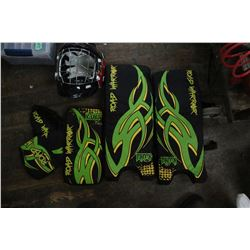 Small Child's Goalie Pads, Blocker, Catcher Glove & Face Protecting Goalie Helmut