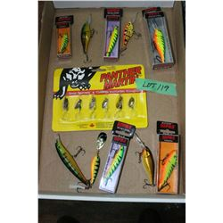 Flat of Rapala, Purple Martin Spinners & Crank Bait Lures