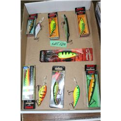 Flat of Rapala Crank Bait & Len Thompson Spoon Lures
