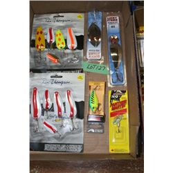 Flat of Len Thompson, Rapala, Lucky Strike & Panther Martin Spoon Bait Lures