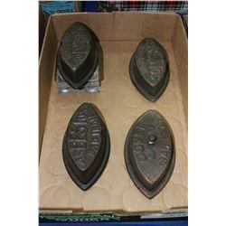 Flat w/4 Asbestos Sad Irons & 1 Trivet