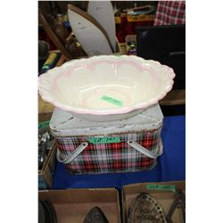 Metal Lunch Box & a Ceramic Basin