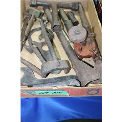 Flat of Old Tools Including a Buggy Wrench