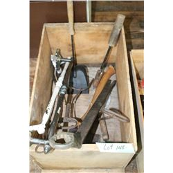 Wooden Box w/Assorted Tools & a Hatchet