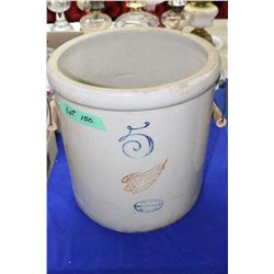 Redwing 5 Gallon Union Stoneware Co. Crock w/2 Handles - has a crack
