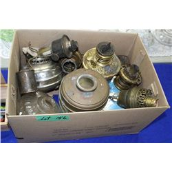Box of Misc. Lamp Parts  (burners, fuel holders, etc), Fuel Filler Can & a Pin