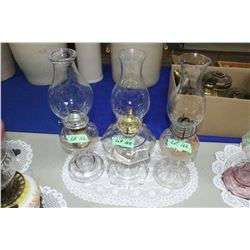 3 Clear Glass Coal Oil Lamps - new & old