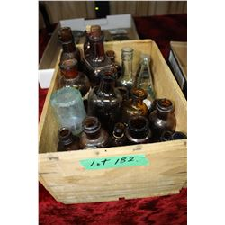 Wooden Orange Box w/Old Bottles of Varying Sizes