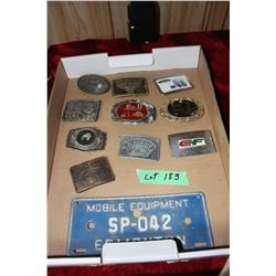 Flat 10 Belt Buckles & 1 Mobile Equipment License Plate