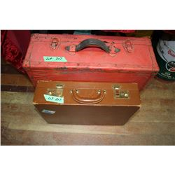 Red Suitcase & a Brown  Briefcase