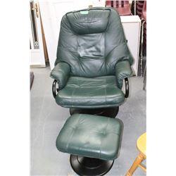 Green Leather Swivel Rocker/Recliner & Ottoman - Good Condition