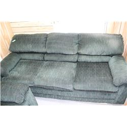 Sofa & Matching Love Seat - Dark Green - Good Condition