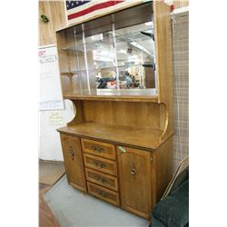 1970's China Cabinet - Base has 4 Drawers & 2 Cupboards - Top is Open w/2 Glass Shelves & Matching B