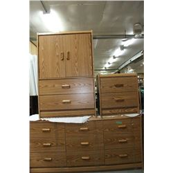 Bedroom Suite (Oak Coloured)- Hi Boy shelves behind 2 dbl doors & 2 Drwrs-9 Drwr Dresser w/Mirror, N