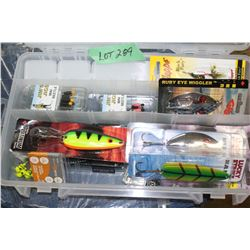 Plastic Storage Container with Jigs, Bait & Spinners