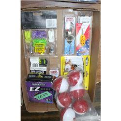 Flat w/Bait Hooks, Sinkers, Spinners, Swivels, Fishing Line & a Bag of Float Bobs