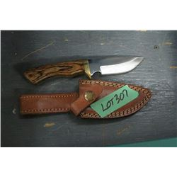 "Stainless Blade Knife (4"") w/Wood Handle & Good Leather Sheath"