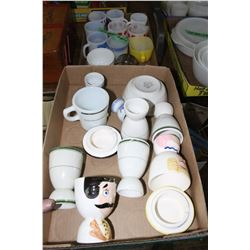 Flat w/Mugs, 2 Sm. Measuring Pans & a Flat w/Egg Cups, etc.