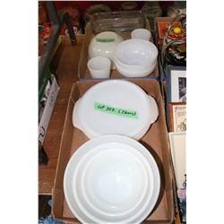 2 Flats w/Fire King Bowls, Cups, a Casserole, etc.