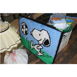 Box w/Snoopy Collectibles - Hooked Rugs, Monopoly Game, etc.