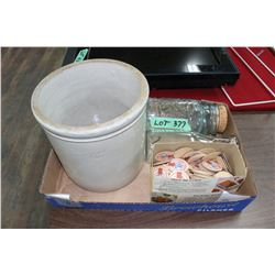 Flat w/1 Gallon Crock, Qt. Sealer, Cream Bottle & Box of Pogs