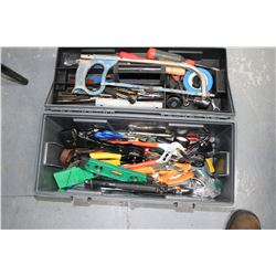 Grey Tool Box w/Riveting Gun, Cresc. Wrench, Pliers, Hack Saw, etc. (Pick up)