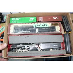 Flat w/2 Locomotives, 2 Box Cars & 2 Passenger Cars