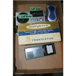 Flat w/Watchman TV/Radio, Corvette Transistor Radio & 2 Other Radios