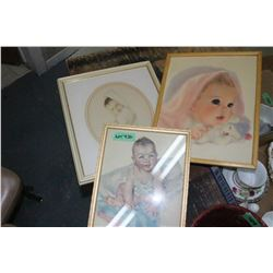 3 Framed Baby Prints